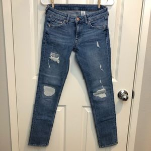 H&M medium wash Cotton Distressed Skinny Jeans